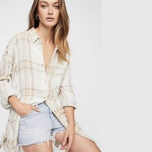 Free People Nordic Day Button Front Side Tie Shirt